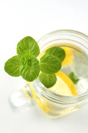 Mint in water and lemon. Detox