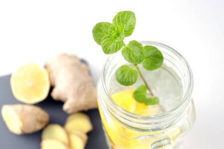 Mint in water with lemon.