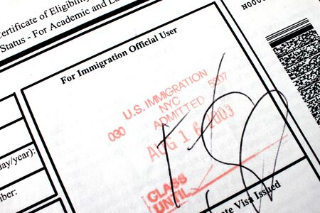Admitted stamp of USA I-20 immigration form for students with visa
