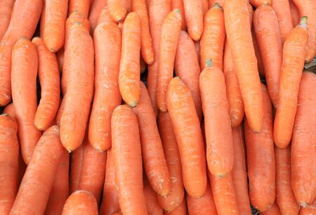 Carrots on display close up