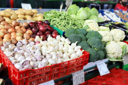 Vegetables on a farmer market. Veggies.