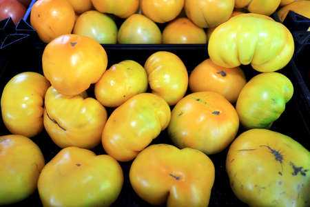 Big organic yellow tomatoes on a market in daylight.