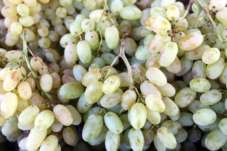 Organic white grapes on a market in daylight Archivio Fotografico