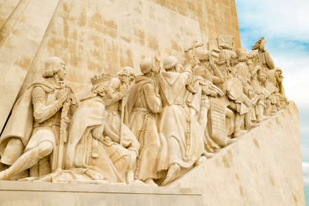 Monument to the Discoverers. It is located in the Portuguese capital of Lisbon, in the Belém area at the mouth of the Tejo river, at the point where portuguese sailors embarked on their long voyages. Banco de Imagens