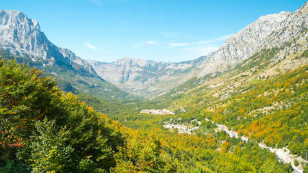Beautiful views of the valley and the surrounding mountains. Theth National Park, Albania. The theme is nature, travel, exploring, Europe, Albania, Balkan, national parks, tourism, hiking, trekking.