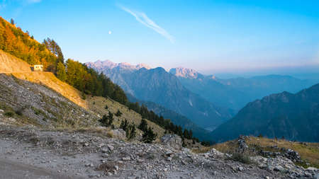 Beautiful view from the road to the valley and the mountains. Albanian Mountains in the Theth Nature Park, Albania. The theme is nature, travel, exploring, Europe, Albania, mountains, Alps, balkan,