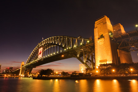 cahill: Sydney Harbour Bridge just before sunset.