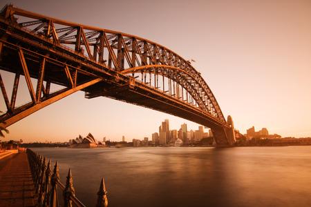 Sydney Harbour Bridge just before sunset.