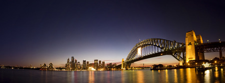 cahill: Sydney-Night Skyline Panorama, Taken during twightlight hour in Sydney. Sydney city panorama taken after sunset. Harbour bridge, Sydney CBD office buildings