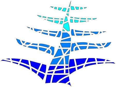 tree: Tree of blue mosaic Stock Photo