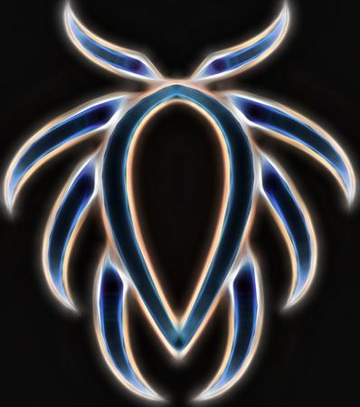 light blue trilobite on a dark background