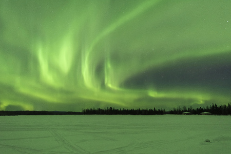 Aurora borealis at Chena Lakes in Alaska 写真素材