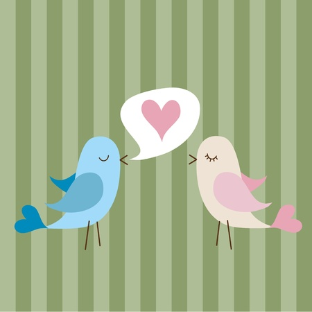 Vector illustration of two cute birds in love Vector