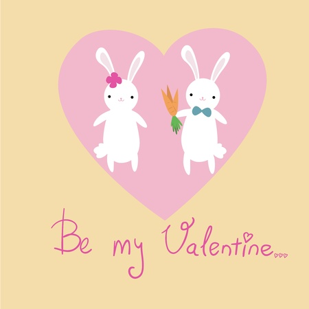Valentines day postcard with cute bunnies Vector