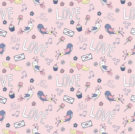 Doodle Valentines day lovely seamless pattern Vector