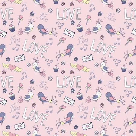 Doodle Valentines day lovely seamless pattern Illustration