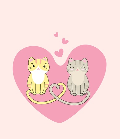Vector illustration of two cute cats in love Illustration