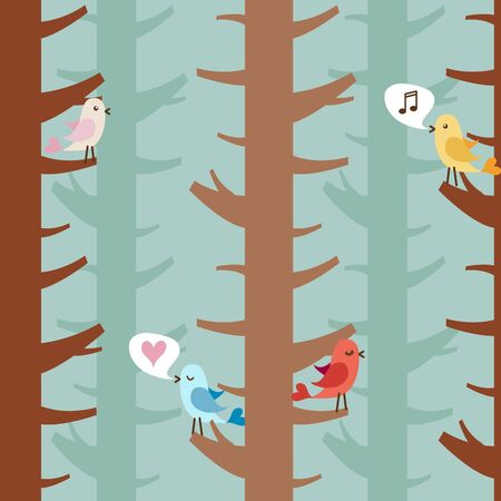 Seamless pattern with birds on trees Vector