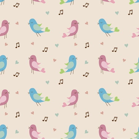 young bird: pattern with cute birds and hearts