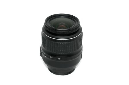 18-55mm zoom camera lens isolated on white