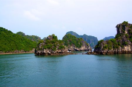 ha: Group of Karst islands in Ha Long Bay in Vietnam Stock Photo