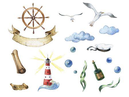 castaway: Watercolor nautical set of design elements