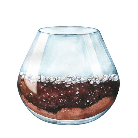 Watercolor illustration. An empty aquarium. Empty terrarium for succulents and cacti. Open glass sphere. Grund for succulents: rocks, sand, earth. Round transparent vase. Isolated on white background.