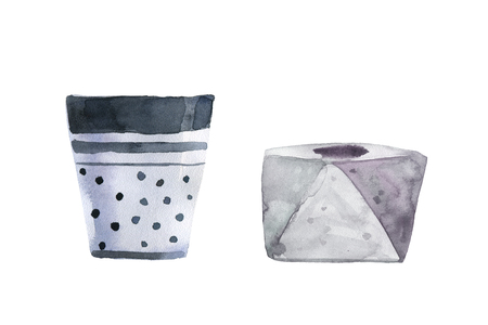Watercolor hand drawn illustration. Set of empty pots for your garden. Perfect for gift cards, post cards, greeting cards, t-shirts. Isolated on white background. Plant your own plant in the pot.