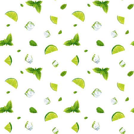 cool mint: Seamless pattern, cool refreshing summer mojito with ice cubes, mint leaves and lime.