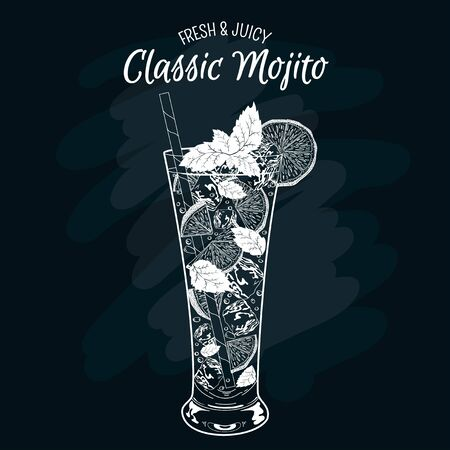 icecubes: Vector illustration of fresh and juicy drink. Alcoholic cocktail mohito. Classic mojito.