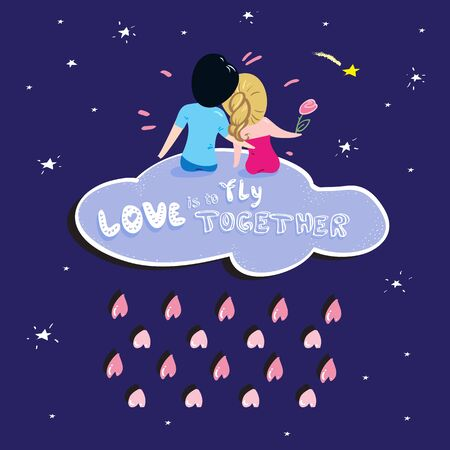 date night: Lovely romantic Valentines Day card about big love of the boy and girl in night. Doodle style.