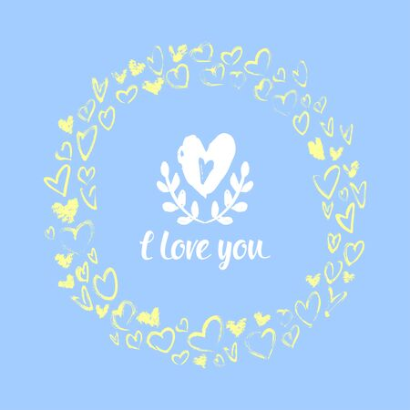 yelow: Vector illustration of Valentines Day. Drawn by hand and heart wreath of leaves. Yelow and blue colors.