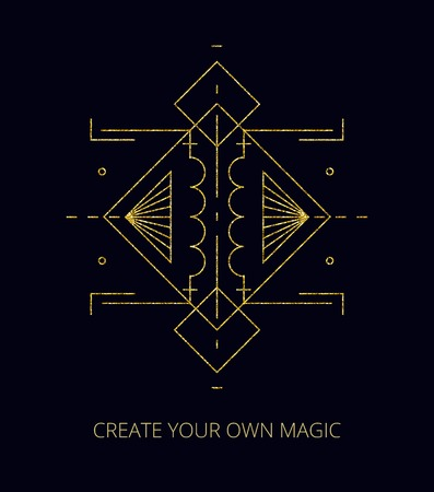 Vector illustration. Gold line. Abstract mystic sign with magic geometric shapes, lines, circles, dots. Use for gold flash tattoo, print, logo design, motivational poster.