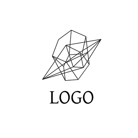 perspectiva lineal: Abstract geometric logo in perspective. Line design, vector isolated. Trendy hipster icon. Line design element. Line figure in 3d. Linear symbol.
