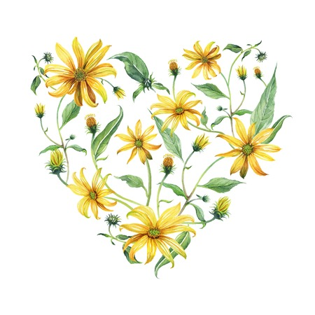 Watercolor wreath heart-shaped. Yellow daisies with green leaves on white background. Can be used as invitation or greeting card, print, your banner.