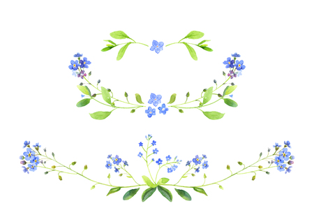 Watercolor illustration. Set of floral ornaments. Forget-me-not. Perfect for wedding invitations, greeting cards, logos, labels, badges or websites, blogs. Stock Photo