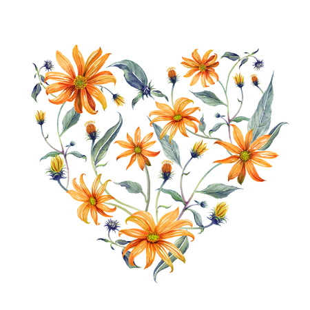 Watercolor wreath heart-shaped. Orange daisies with green leaves on white background. Can be used as invitation or greeting card, print, your banner.
