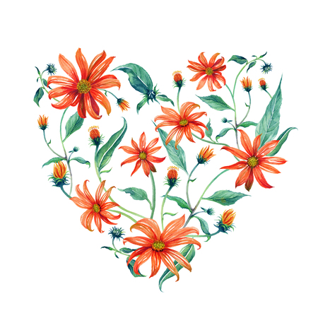 Watercolor wreath heart-shaped. Red daisies with green leaves on white background. Can be used as invitation or greeting card, print, your banner. Stock Photo