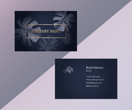reverse: Template of double sided business card in trendy colors. Graphite gray and gold. Monstera leaves. The cover and reverse side. Strict style. Suitable for use for example floral company. Illustration