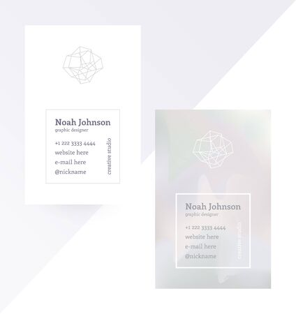 grey pattern: Gray double-sided business card with a crystal logo. Polygonal shape. Corporate identity template. Blurry holographic background. Chatoyant backdrop.Vector. EPS 10. Nacreous pearl pastel colors.