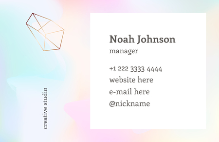 chatoyant: Rainbow hologram color. Double-sided business card template with a crystal logo. Corporate identity template. Blurry holographic background. Chatoyant backdrop.Vector. Nacreous pearl pastel colors. Illustration