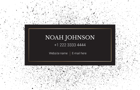 spattered: Design business card template in minimalist style. Spattered background with ink. Drops of paint. Art black texture. Vector. Strict style. Illustration