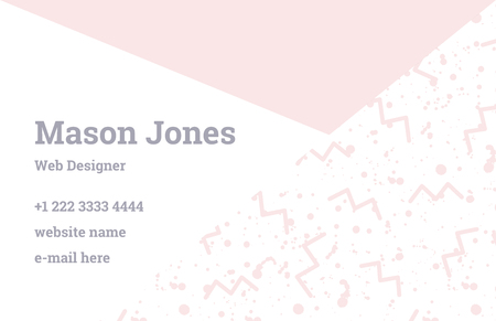 webdesigner: Fashion business card template in the style of Memphis. Perfect combination of pattern and geometric shapes. A pattern of pastel pink zigzags and blush smudges or splatters of paint. Funky design.