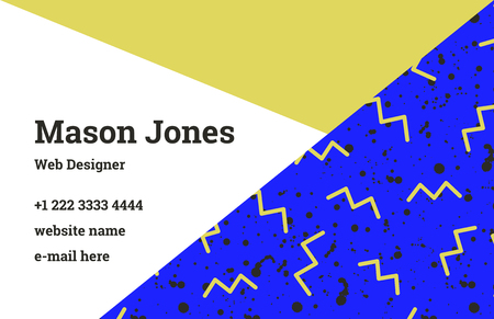 Fashion business card template in the style of Memphis. A perfect combination of ocher and ultramarine. A pattern of yellow zigzags and black smudges or splatters of paint. Funky design.