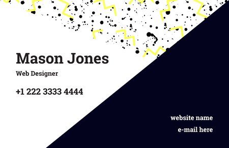 webdesigner: Fashion business card template in the style of Memphis. Perfect combination of pattern and geometric shapes. A pattern of yellow zigzags and black smudges or splatters of paint. Funky design.