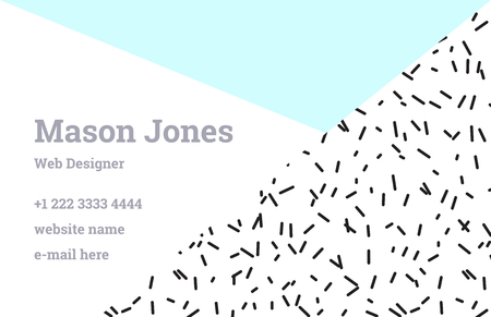 webdesigner: Fashion business card template in the style of Memphis. Perfect combination of pattern and geometric shapes. A pattern of pastel blue triangle and black smudges or splatters of paint. Funky design. Illustration