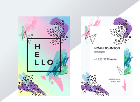 Template of double sided business card in pink, purple and blue pastel colors. Artistic texture. Brush strokes. Creative abstract background. Suitable for use for the designer or artist. Personal card
