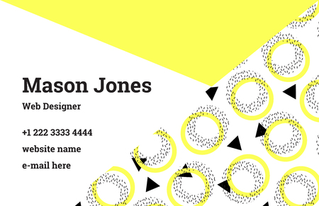 webdesigner: Fashion business card template in the style of Memphis. A perfect combination of lemon yellow and black. Pattern of geometric shapes, yellow circles and black triangles. Funky design. Illustration