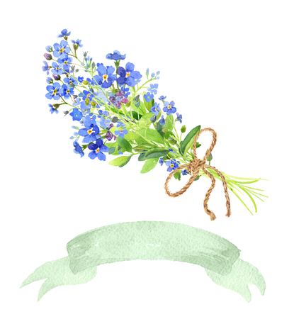 Watercolor set bouquet and ribbon. Blue forget-me-nots with green leaves on white background. Can be used as wedding invitations, print, your banner or Postcards for Valentines Day. Green tape.