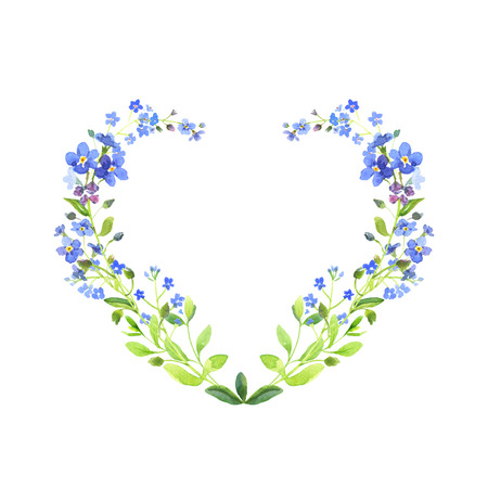 Watercolor heart-shaped. Blue forget-me-nots with green leaves on white background. Can be used as wedding invitations or greeting card, print, your banner or Postcards for Valentines Day.